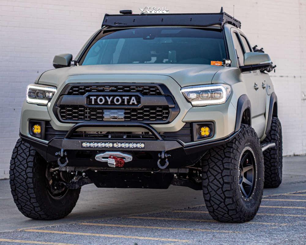1 2018 Tacoma Toyota Rock Krawler Suspension Lift 25in Icon Alloys Rebound Black