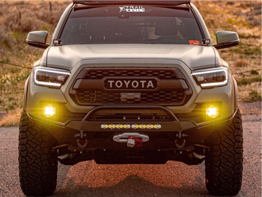 2 2018 Tacoma Toyota Rock Krawler Suspension Lift 25in Icon Alloys Rebound Black