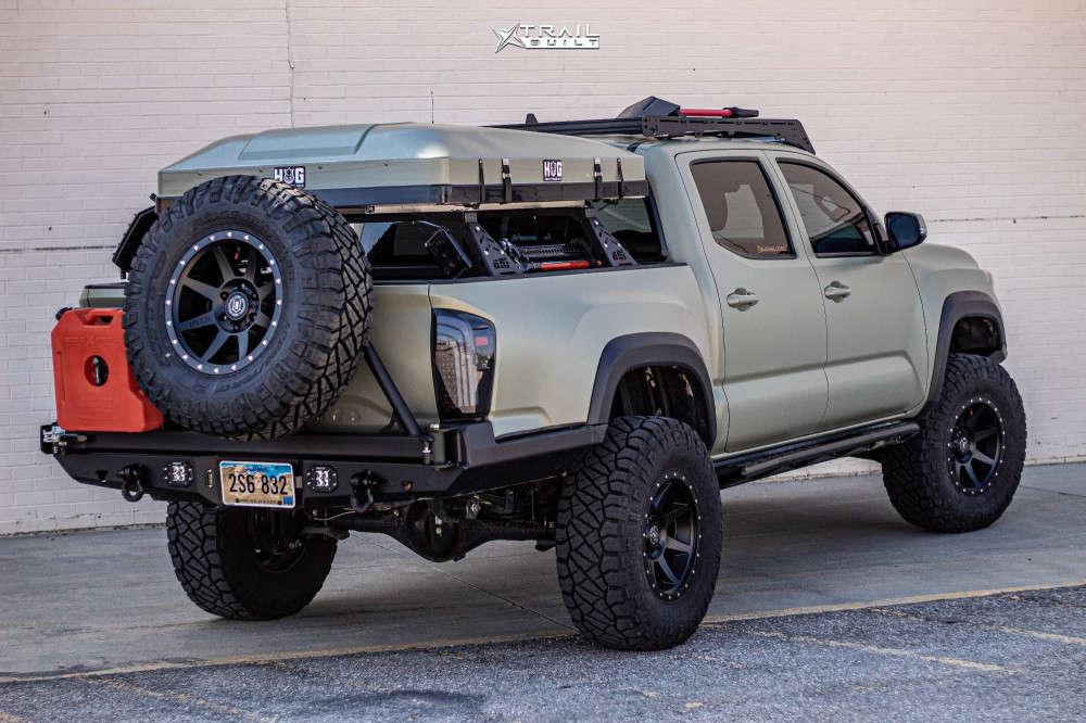 4 2018 Tacoma Toyota Rock Krawler Suspension Lift 25in Icon Alloys Rebound Black