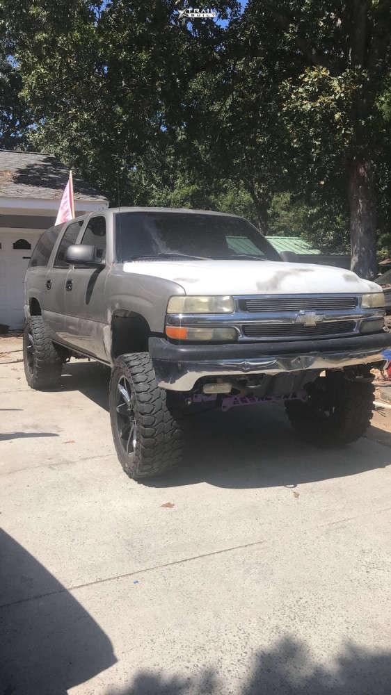 1 2002 Suburban 1500 Chevrolet Rough Country Suspension Lift 6in Kmc Slide Black