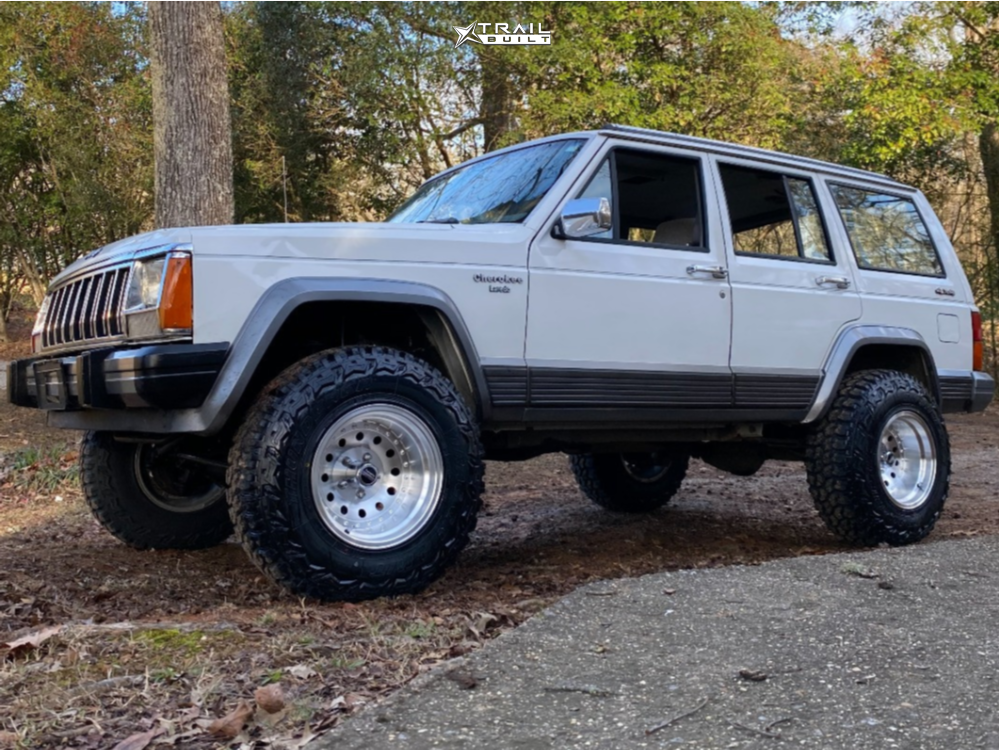1 1991 Cherokee Jeep Laredo Rough Country Suspension Lift 3in American Racing Outlaw Ii Silver