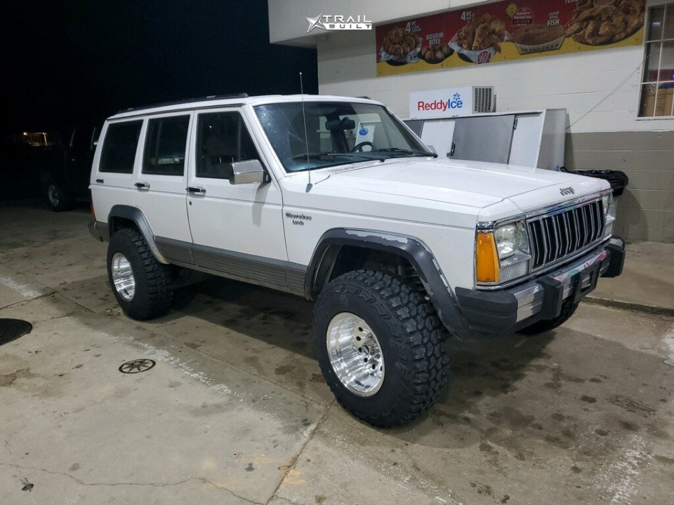 9 1991 Cherokee Jeep Laredo Rough Country Suspension Lift 3in American Racing Outlaw Ii Silver